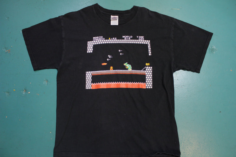 Nintendo Super Mario Bros Vintage 90s Black End Scene Bowser T-Shirt