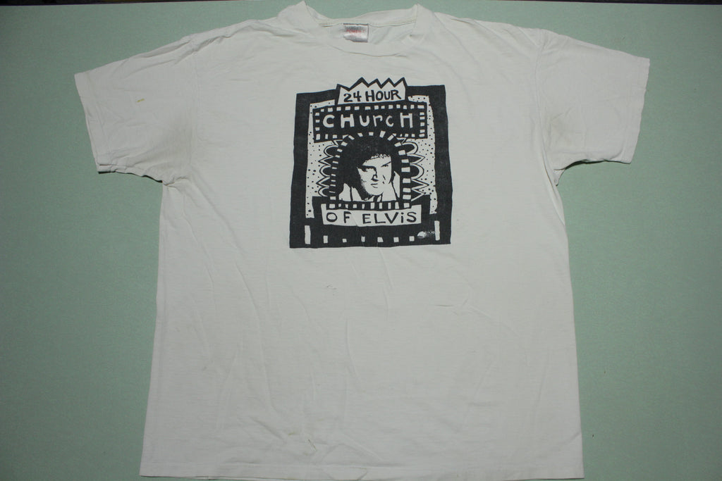 24 Hour Church of Elvis Vintage 90s Art Gallery Portland Ankeny T-Shirt