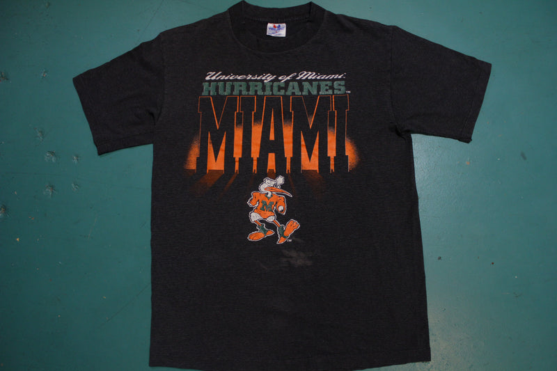 University of Miami Hurricanes Vintage 90s Striped USA Made Black T-Shirt