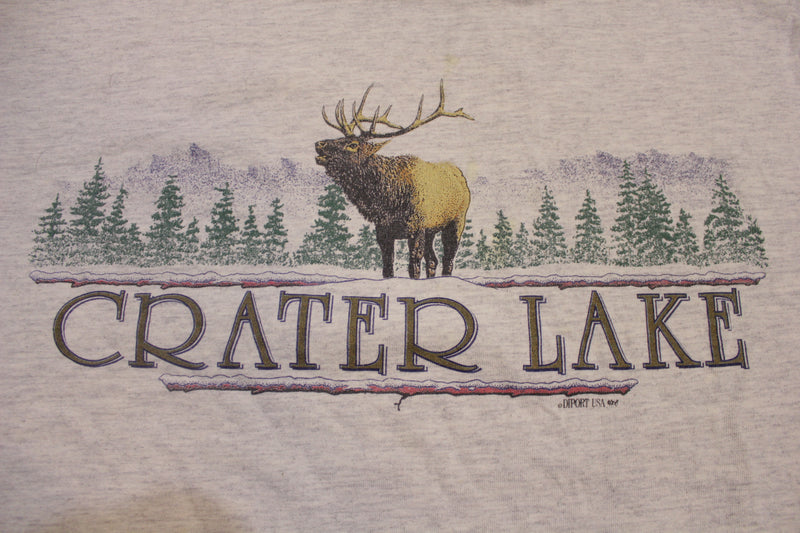 Crater Lake Oregon Vintage 90s Two Tone Wild Elk T-Shirt