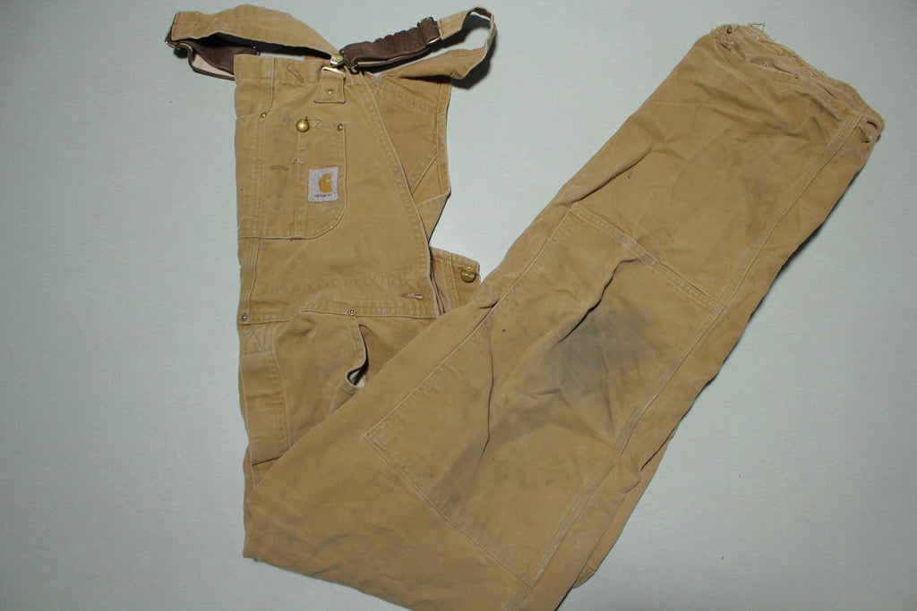 Carhartt 6FBQZ BRN Double Knee Front Quilt Lined Bib Overalls USA Made 34x32