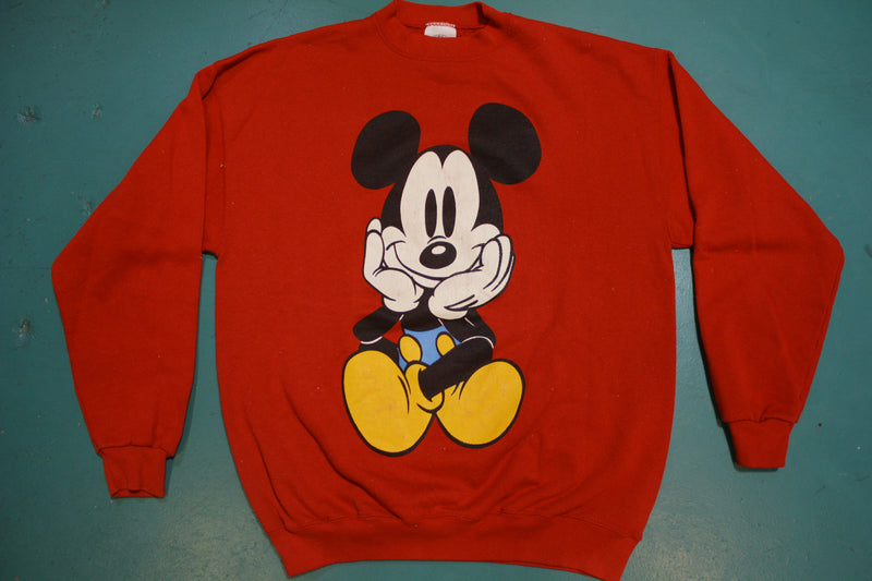 Disney Mickey Mouse 90s Red Vintage Front and Back Crewneck Sweatshirt