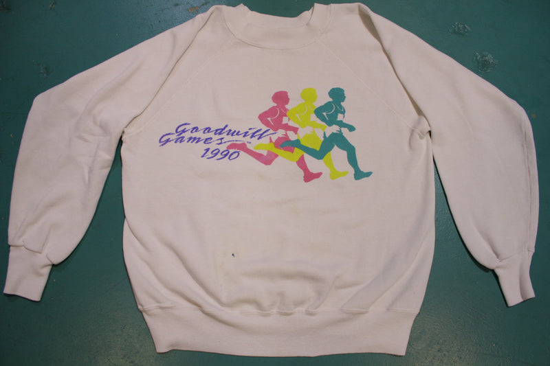 Goodwill Games 1990 Multi-Colored Running Vintage Crewneck 90s Sweatshirt
