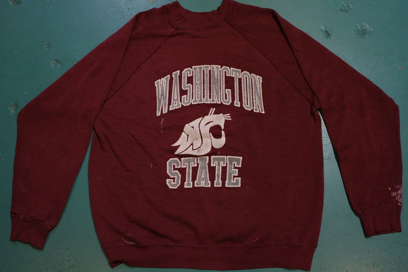 Washington State Cougars WSU Distressed Vintage Party Crewneck Sweatshirt
