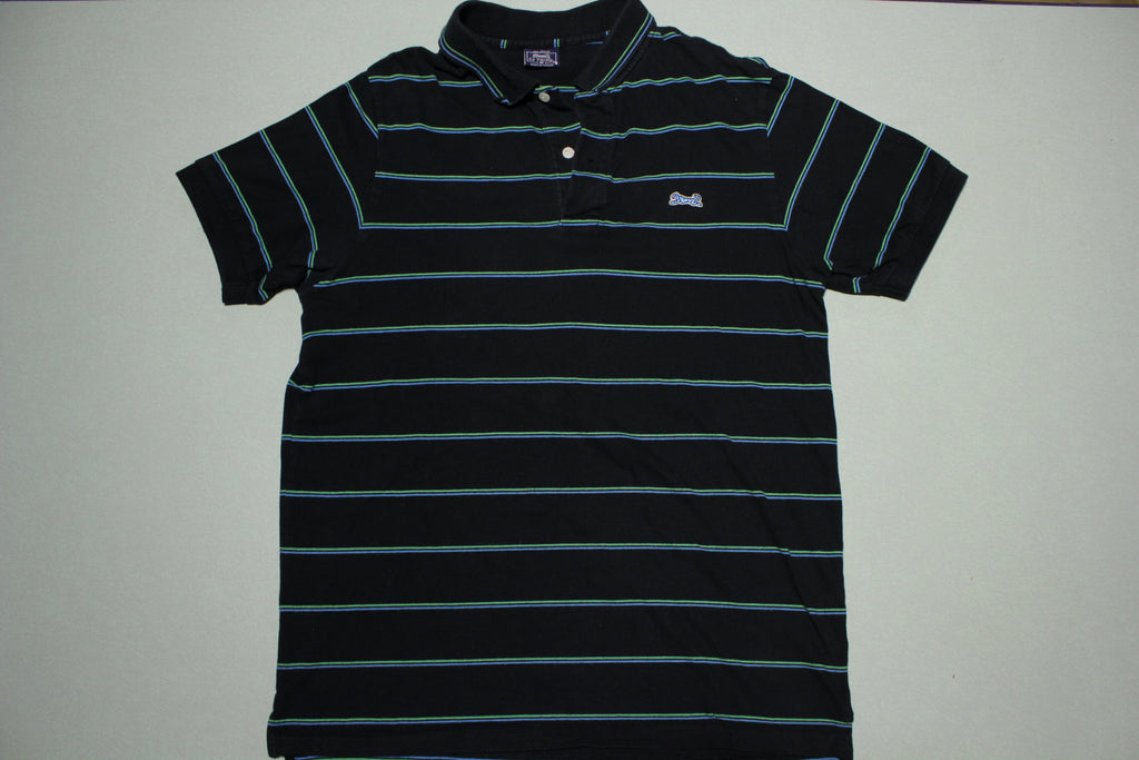 Le Tigre Vintage Classic Black Striped Polo Golf Tennis Waver Shirt