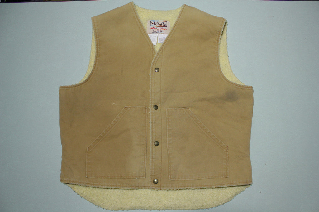 Walls Blizzard Pruf Vintage 90's Made in USA Sherpa Lined Canvas Work Vest