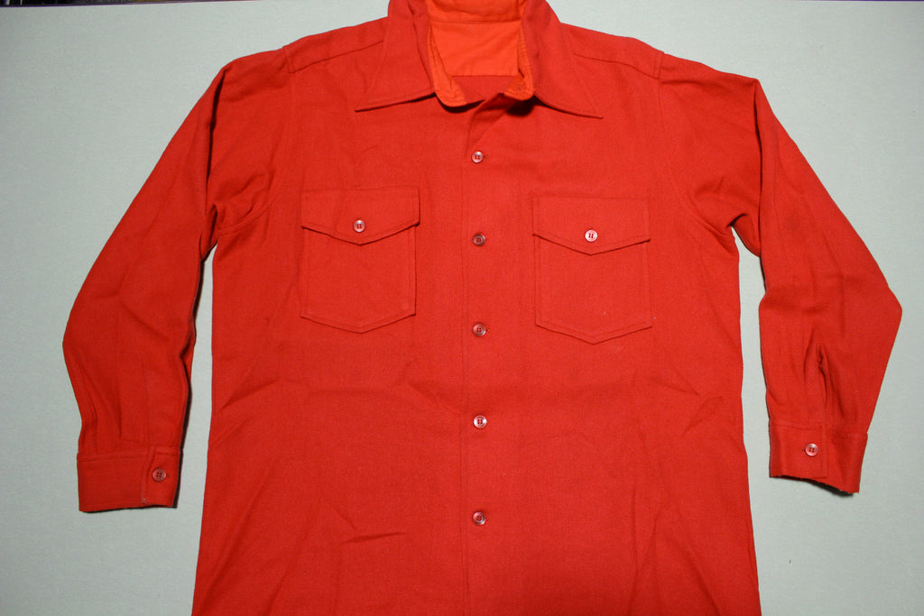 Fire Engine Red Wool Vintage 1960's Flannel Button Up shirt