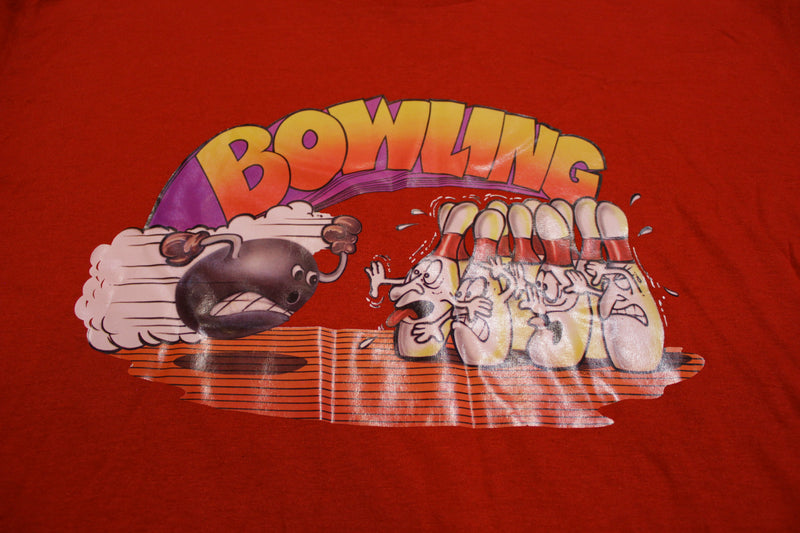 Bowling 1976 Single Stitch Sportswear 70s Heat Transfer Vintage Crew Neck T-Shirt