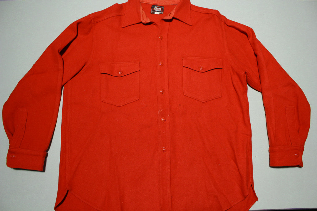 Woolrich 1950's Bright Red Vintage Wool Button Up Classic Flannel Shirt