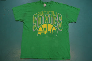 Seattle Sonics 80s Artex Made in USA Single Stitch Vintage Crew Neck T-Shirt