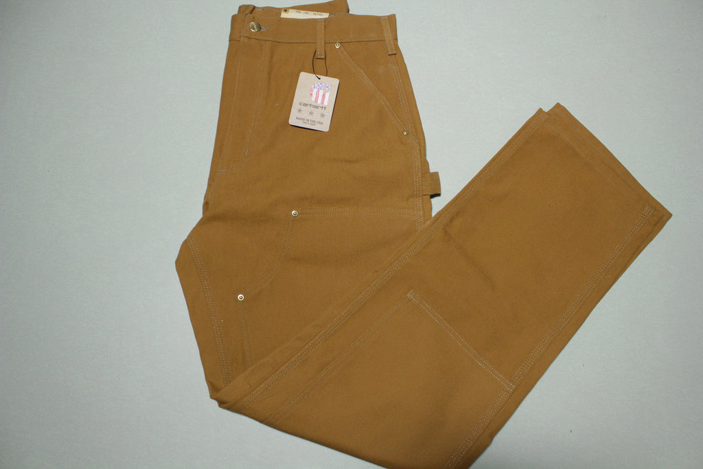 Carhartt B01 Double Knee Front Work Construction Utility Pants BRN Made in USA NWT