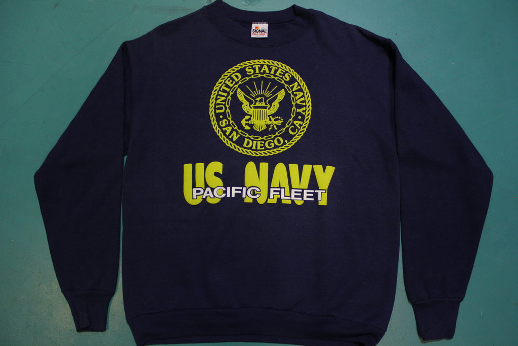 US Navy Pacific Fleet San Diego Signal Made in USA 90s Vintage Crew Neck Sweatshirt