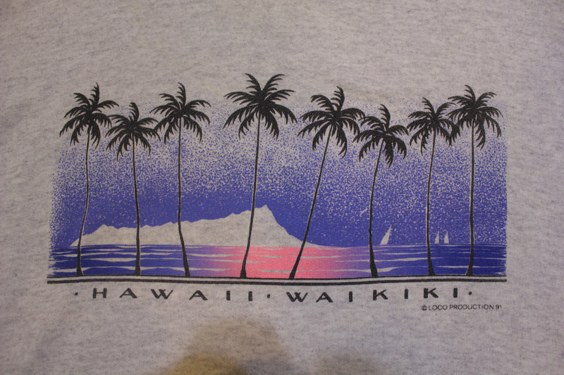 Hawaii Waikiki 1991 Beach Palm Sunset 90s TeeJays Made in USA Vintage Sweatshirt