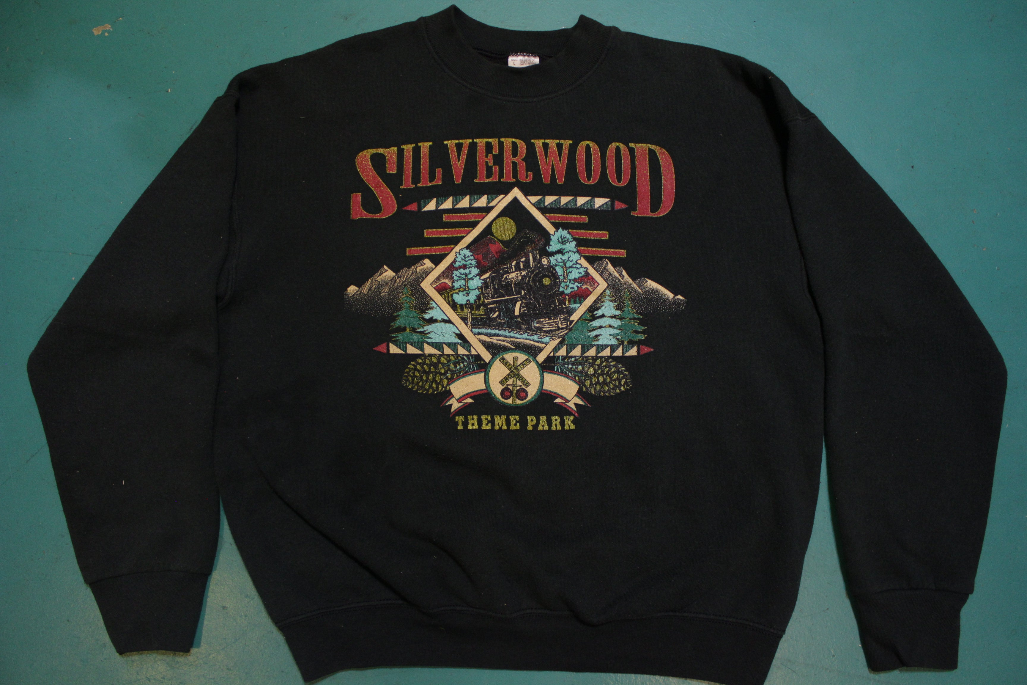 Silverwood Theme Park Locomotive Train 80s Fruit of the Loom Made in USA Fifty-Fifty Vintage Crew Neck Sweatshirt