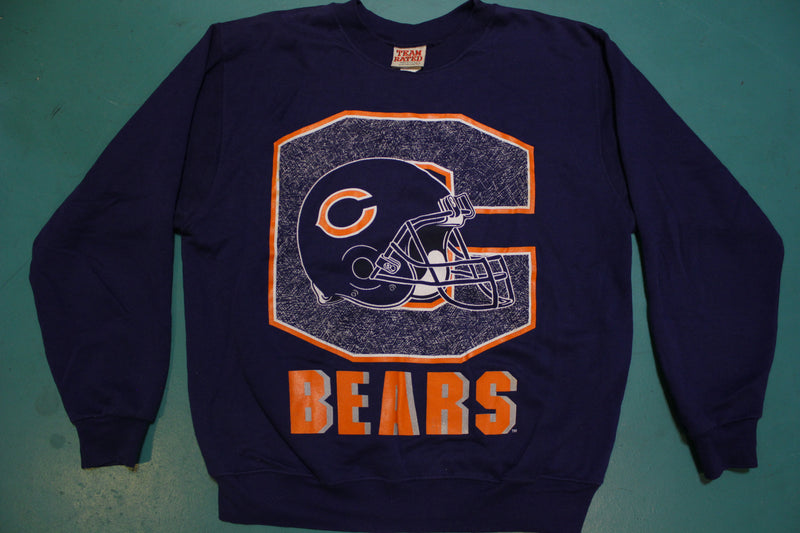 Chicago Bears NFL Football Helmet Made in USA Team Rated 90s Vintage Crew Neck Sweatshirt