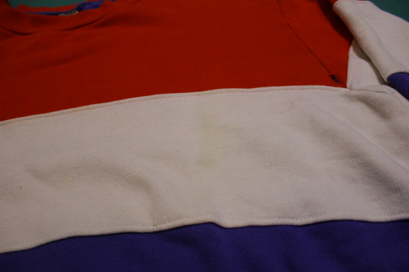 80s Red White and Blue Color Block Vintage Crewneck Sweatshirt 1980s
