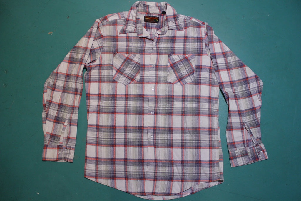 Montgomery Ward Vintage 80's Gray Salmon Flannel Long Sleeved Shirt
