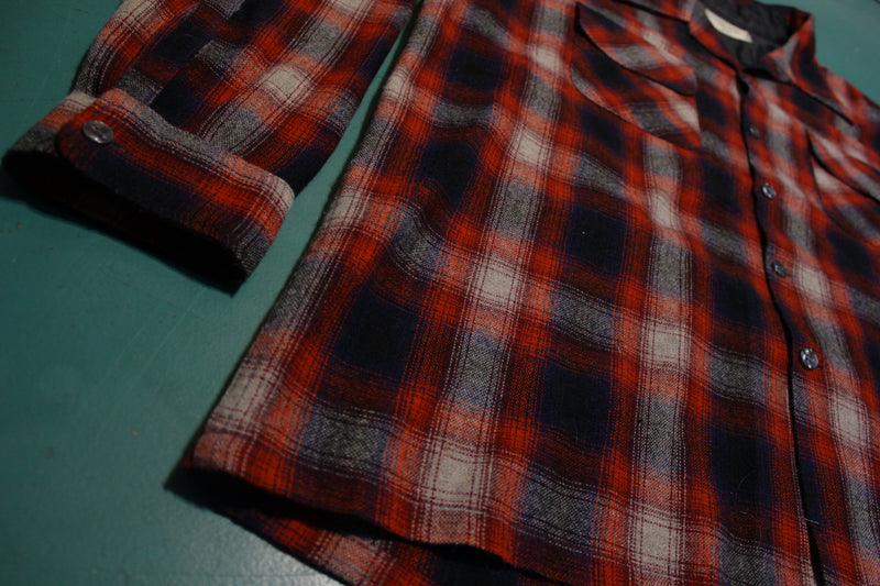 JCPenney Vintage 70's Wool Blend Plaid Flannel Long Sleeve Shirt