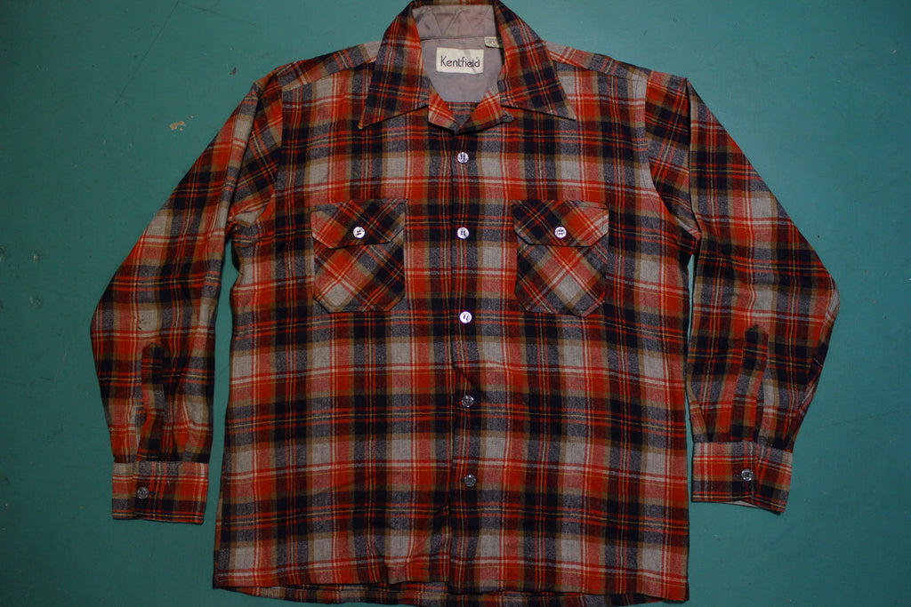 Kentfield Vintage 80's Wool Blend Flannel Red Navy Plaid Long Sleeved Shirt