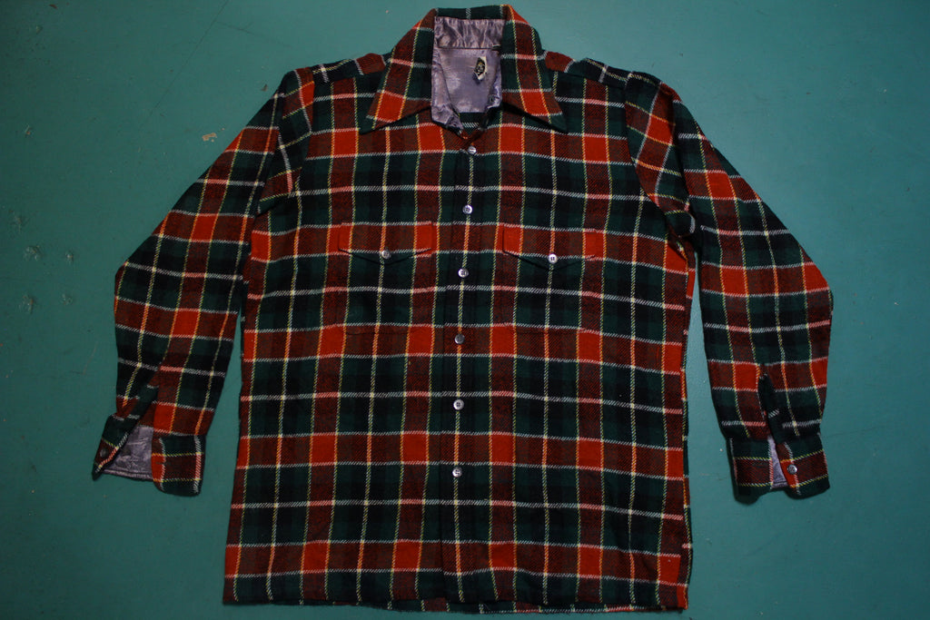 Royal Knight Vintage 60's Wool Flannel Plaid Long Sleeve Shirt Made in the USA