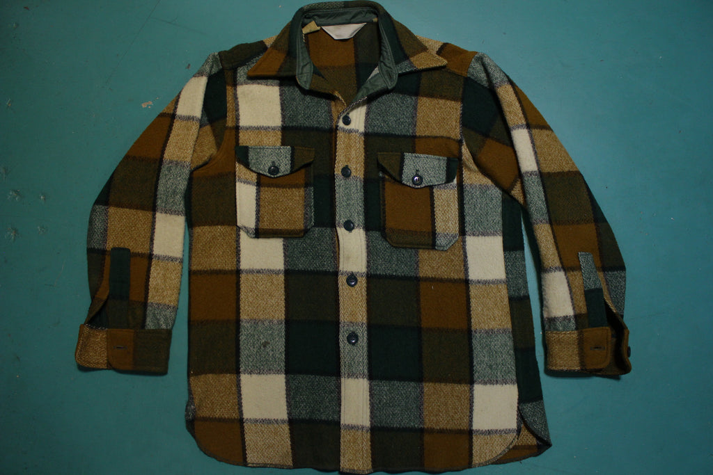 Woolrich Wool 60's Green Brown Flannel Plaid Shirt Long Sleeve Shirt Jacket
