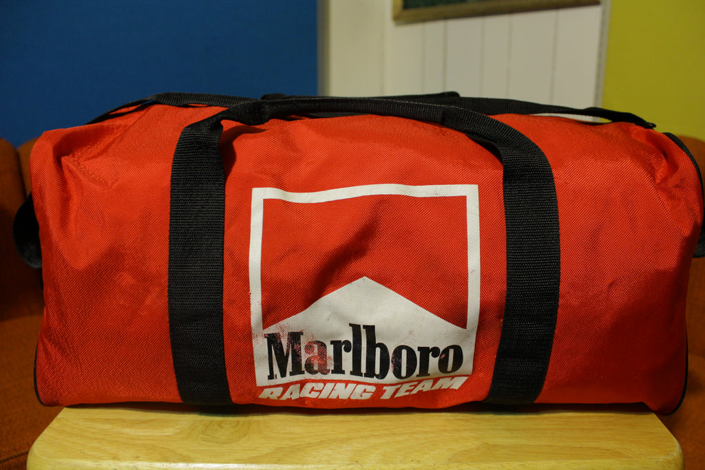 Marlboro Racing Team Vintage Red Duffle Gym Bag Black Straps Zipper Cigarettes