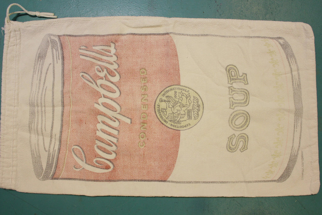 Vintage Rare Campbell's Soup Cloth Fabric Laundry Bag Sack Tote Andy Warhol