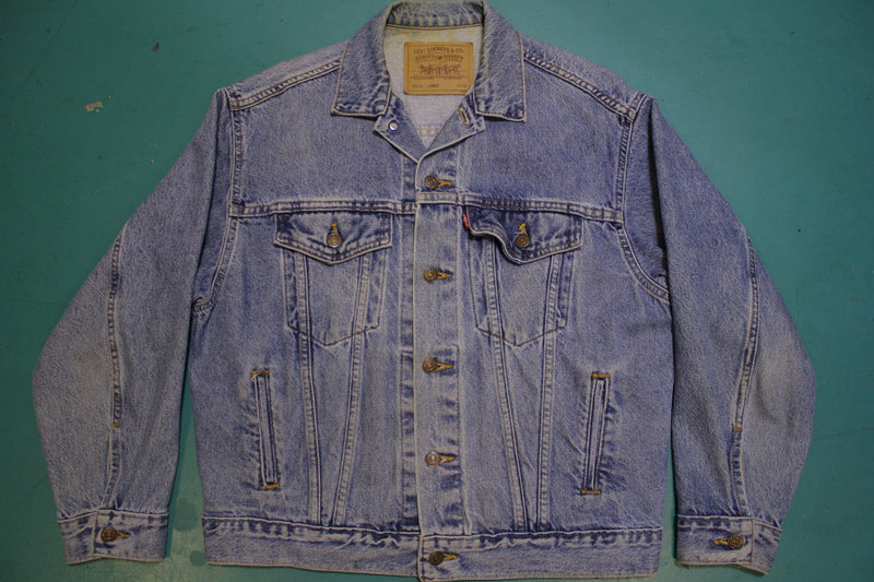 Levis 90's Faded Denim Trucker Jean Jacket 4 Pocket USA Made Red Tab
