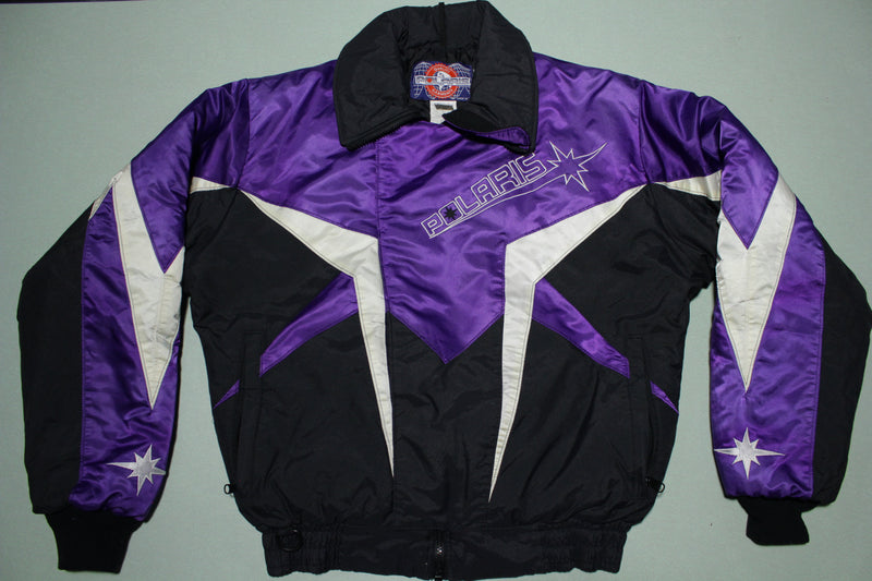 Polaris Vintage 80's 90's Satin Puffer Ski Snowmobile Racing Jacket
