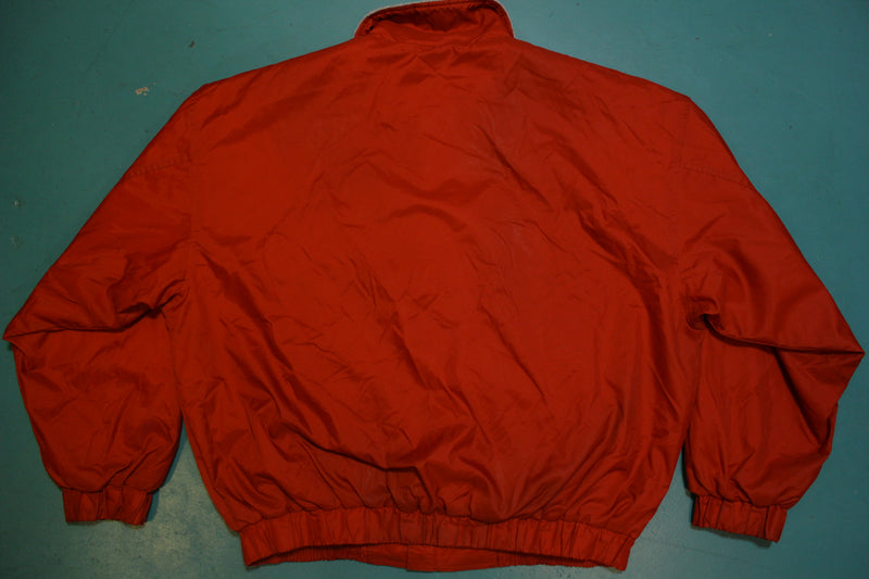 Nike 90's Swoosh Vintage Fleece Lined Windbreaker Red Bomber Jacket 1990's
