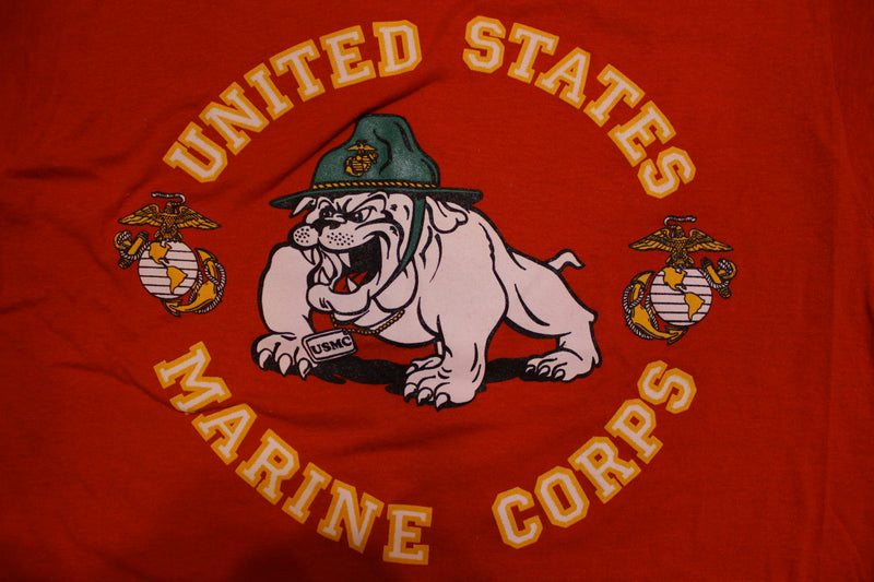 United States Marine Corp Bulldog 80's Vintage Single Stitch T-shirt USMC Screen Stars
