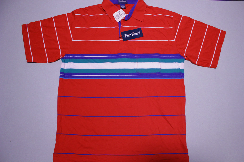 Par Four Vintage 90s JC Penneys Vintage Striped Polo Golf Shirt