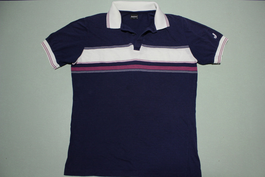 Jantzen Vintage 80's Made in USA Striped Tennis Golf Polo Shirt