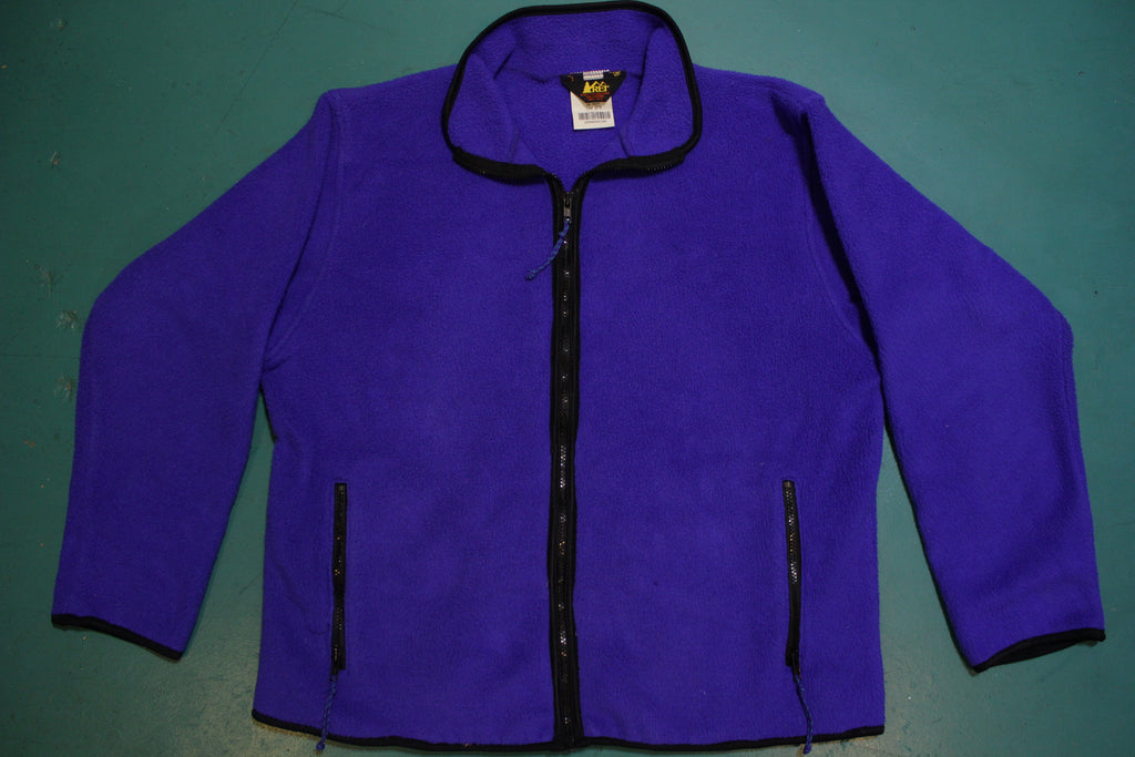 REI Royal Blue Vintage 90's Made in USA Zip Up Fleece Jacket