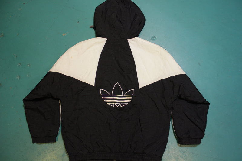 Adidas Black and White Vintage 90's Colorblock Trefoil Logo Puffy Jacket
