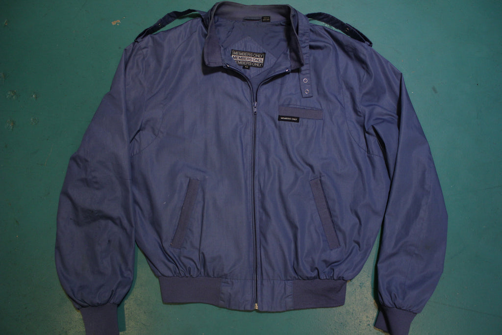 Members Only Cafe Racer 80's Vintage Bomber Jacket Blue Men's Large