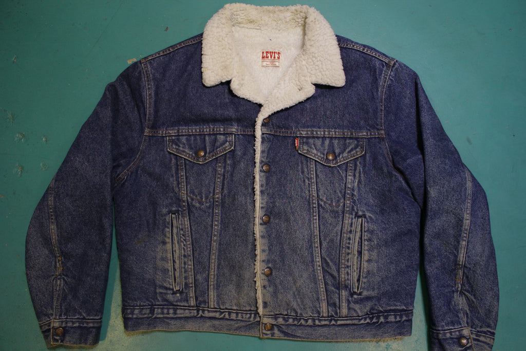 Levis Sherpa Lined USA Made San Francisco 80's Vintage Jean Jacket Med Wash