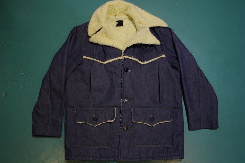 Sears Roebuck's Sherpa Lined 70's Rancher Jean Jacket Hidden Breast Pockets!!