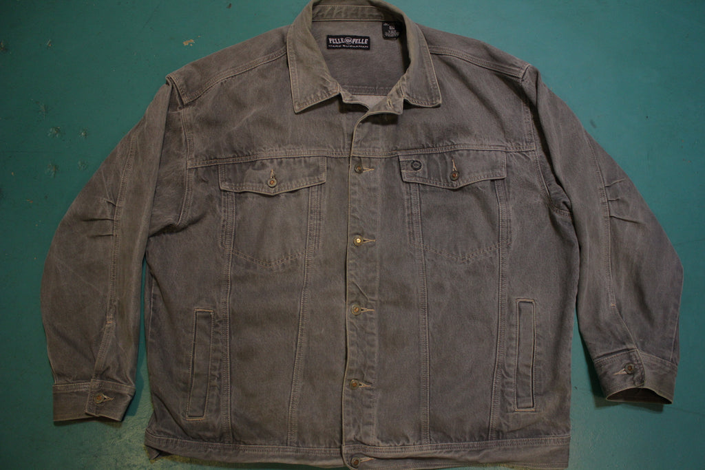 Pelle Pelle Marc Buchanan Gray Denim 90's Jean Jacket Vintage Urban Street