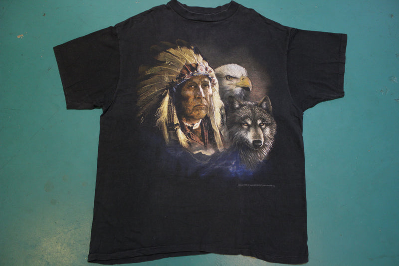 3D Emblem Single Stitch 1993 Made in USA Eagle Wolf Native American 90's T-shirt