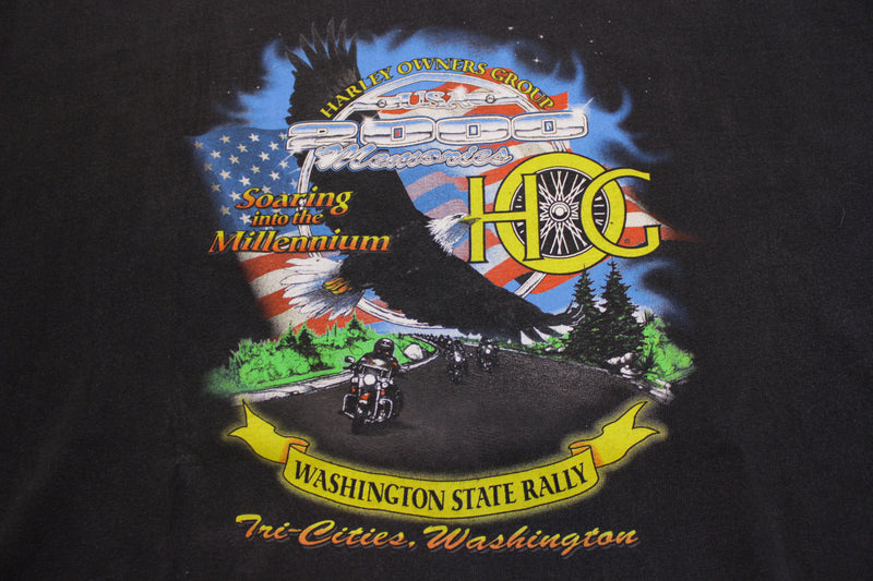 Harley Davidson Hog Group Rally 2000 Tri-Cities Washington Vintage T-shirt
