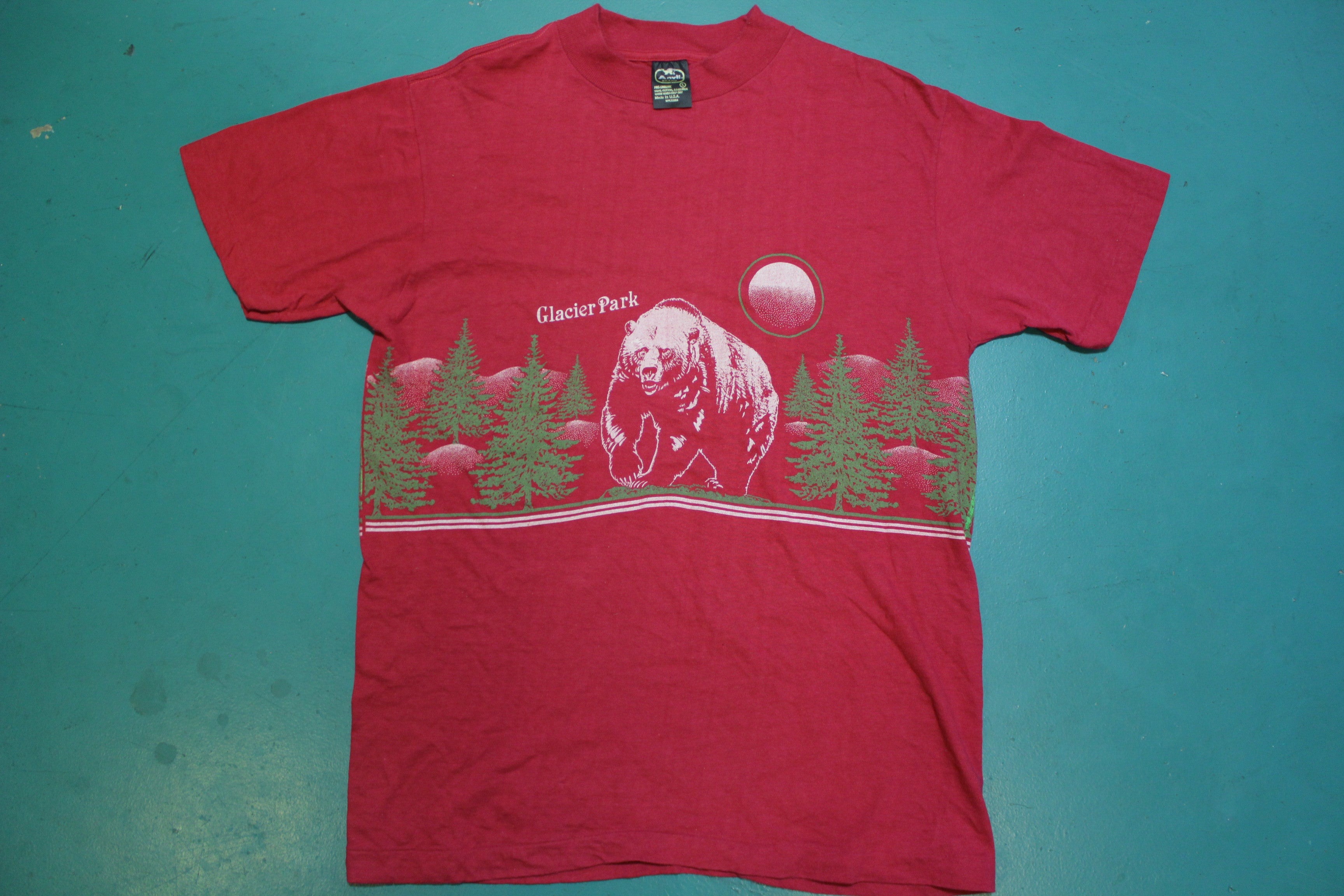 Glacier Park 80's Single Stitch Made in USA Pink Bear and Forest Vintage T-shirt
