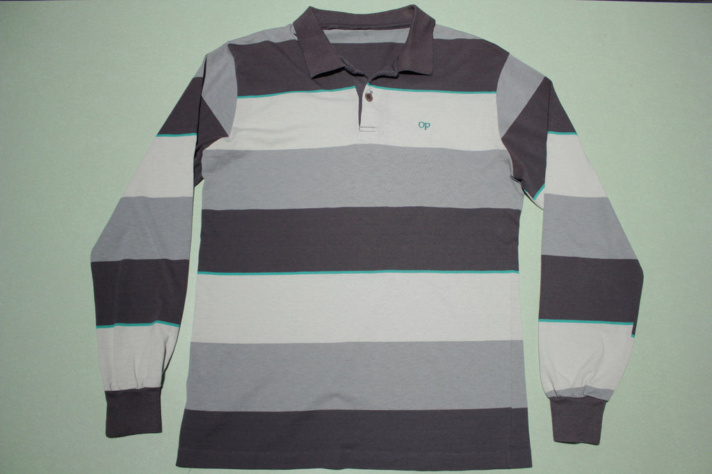 Ocean Pacific Long Sleeve Vintage 80s Striped Polo Shirt
