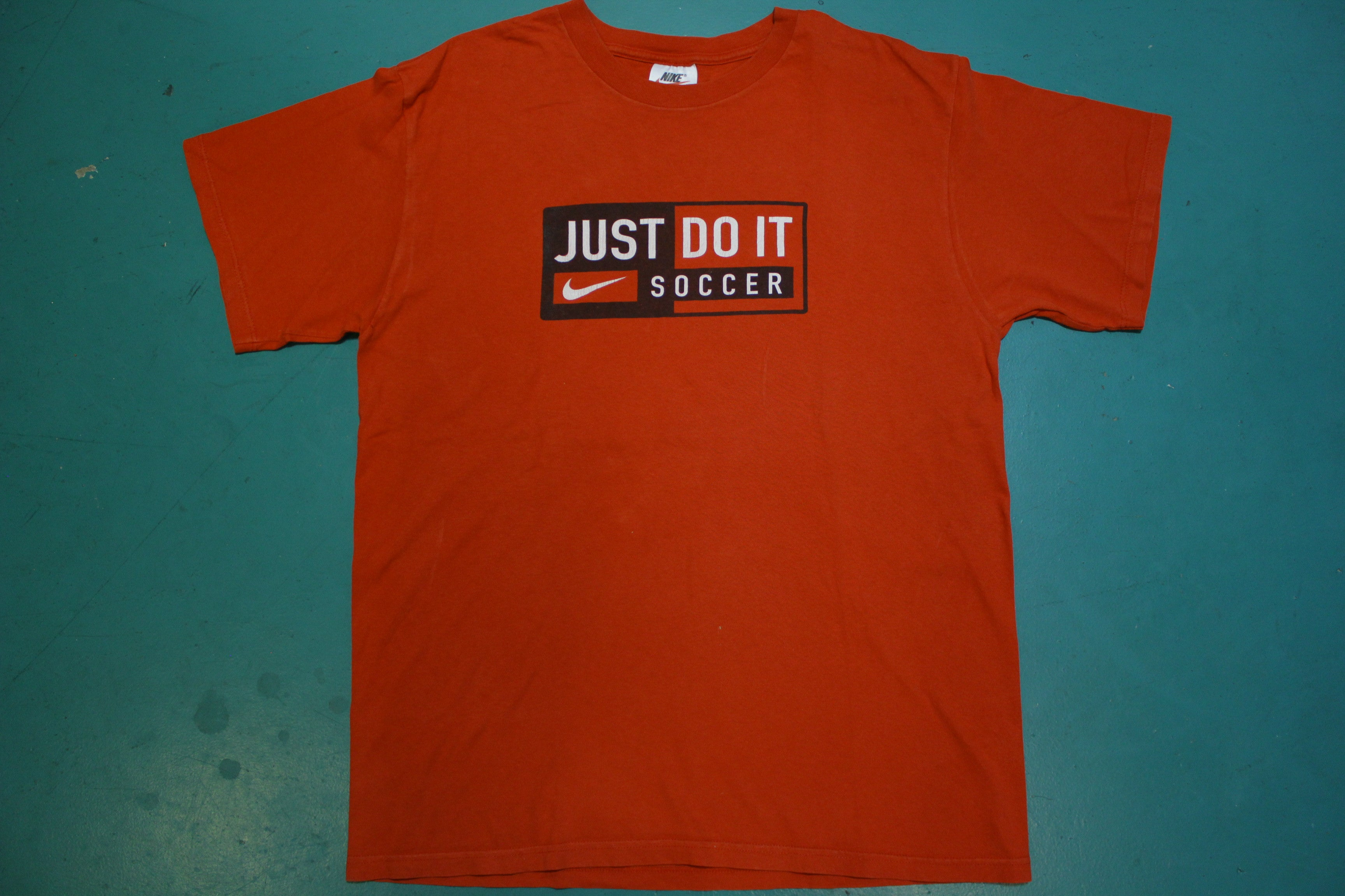 Nike Soccer Just Do It 90's Made in USA Vintage 1990s Red T-shirt