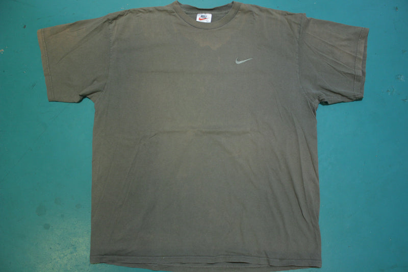 "Nike 90's Made in USA Embroidered Swoosh T-Shirt ""Shit Brown"""