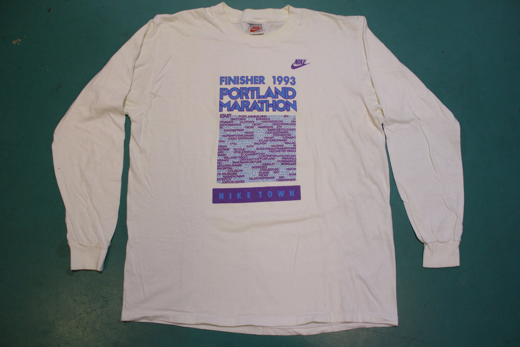 90's Made in USA Nike Gray Tag Portland Marathon Finisher 1993 Long Sleeved T-shirt