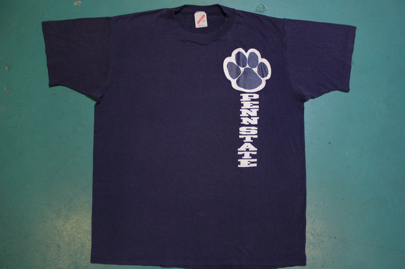 Penn State Paw Print Single Stitch 80's Vintage College Party T-shirt