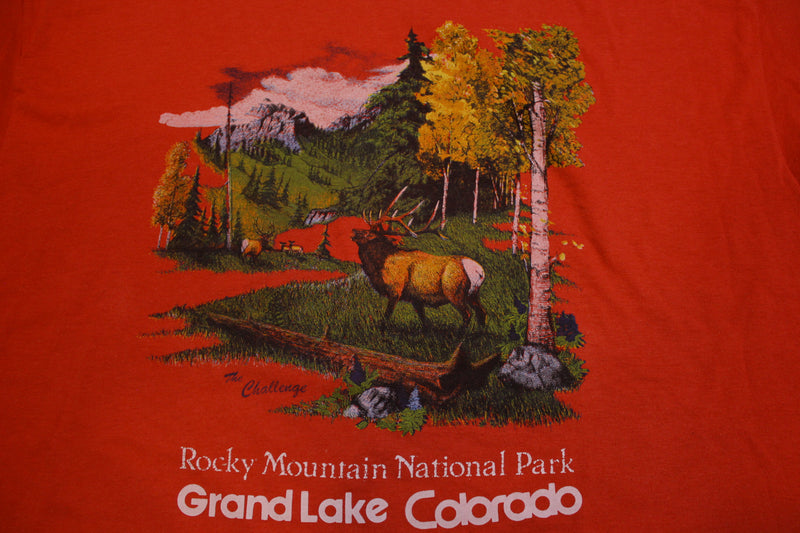 Grand Lake Colorado Forest Elk Scene Rocky Mountain National Park Vintage 80's T-shirt