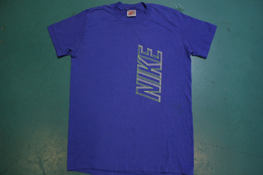 Nike Gray Tag Verticle 3D Graphic 80's Made in USA Single Stitch Vintage T-shirt