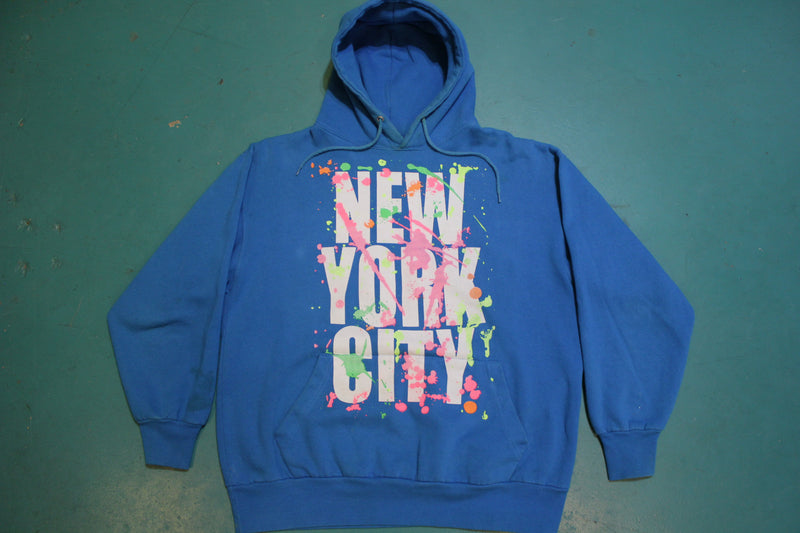 New York City Paint Slattered 90's Vintage Hooded Sweatshirt Graffiti Hoodie